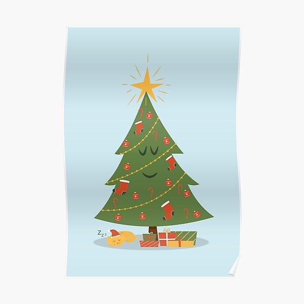 The Christmas Tree and The Cat Poster