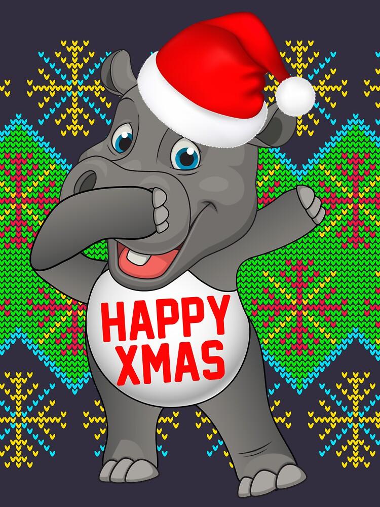 Dabbing Hippopotamus Dabbing santa hats by bestdesign4u