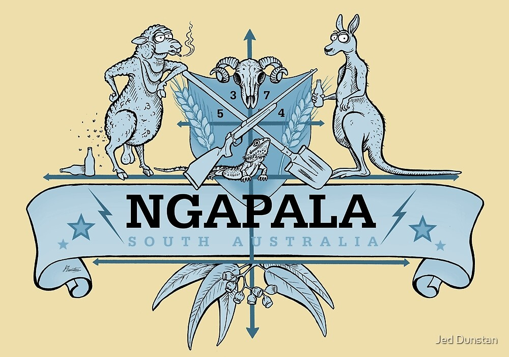 Ngapala Coat Of Arms -(blue) by Jed Dunstan