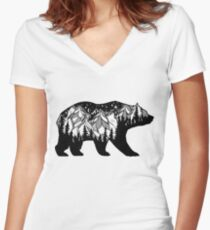 Double exposure bear with mountains landscape. Women's Fitted V-Neck T-Shirt
