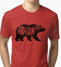 Double exposure bear with mountains landscape. Tri-blend T-Shirt