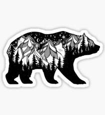 Double exposure bear with mountains landscape. Sticker