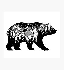 Double exposure bear with mountains landscape. Photographic Print