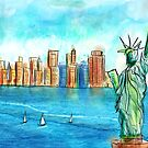 Colorful Urban Sketch of The Statue of Liberty the Bay and the Buildings by ibadishi