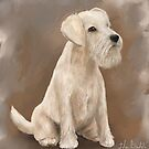 Painting of a Cream Coated Schnauzer with Beige Background  by ibadishi