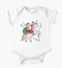 Body de manga corta para bebé Santa montando un unicornio