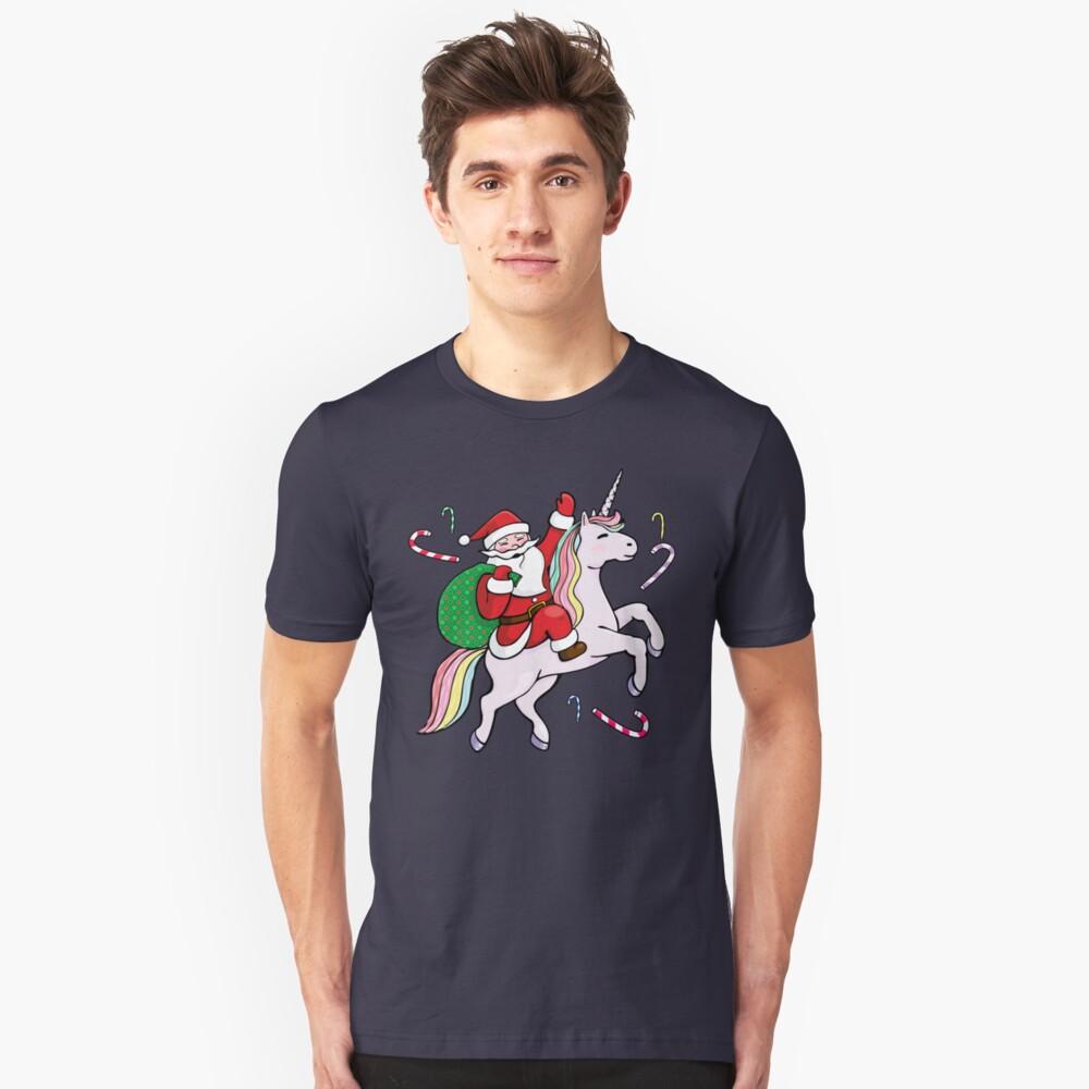 Santa Riding ein Einhorn Slim Fit T-Shirt