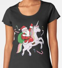 Santa Riding a Unicorn Women's Premium T-Shirt