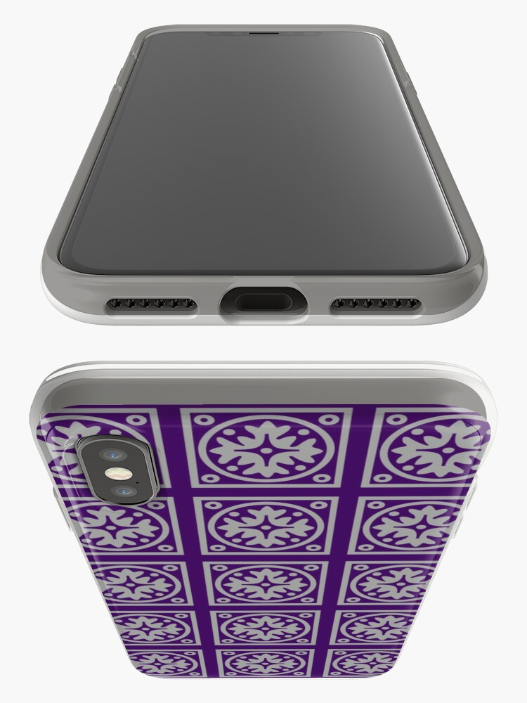 Alternate view of Floral Tile Purple and Grey Repeat Seamless Pattern iPhone Case & Cover