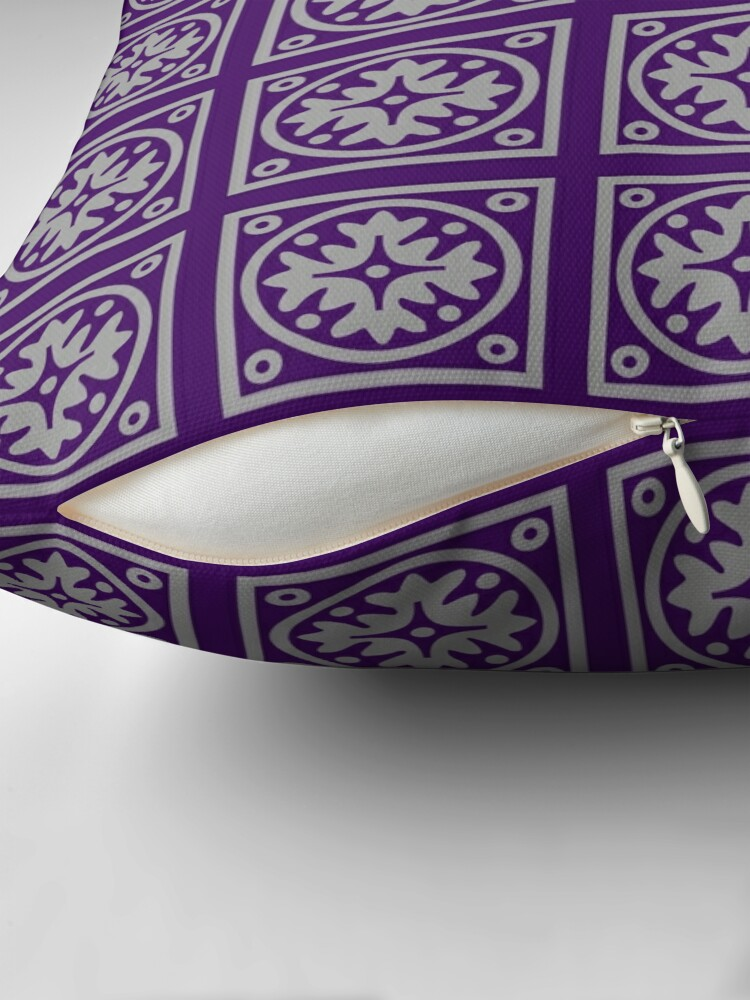 Alternate view of Floral Tile Purple and Grey Repeat Seamless Pattern Throw Pillow