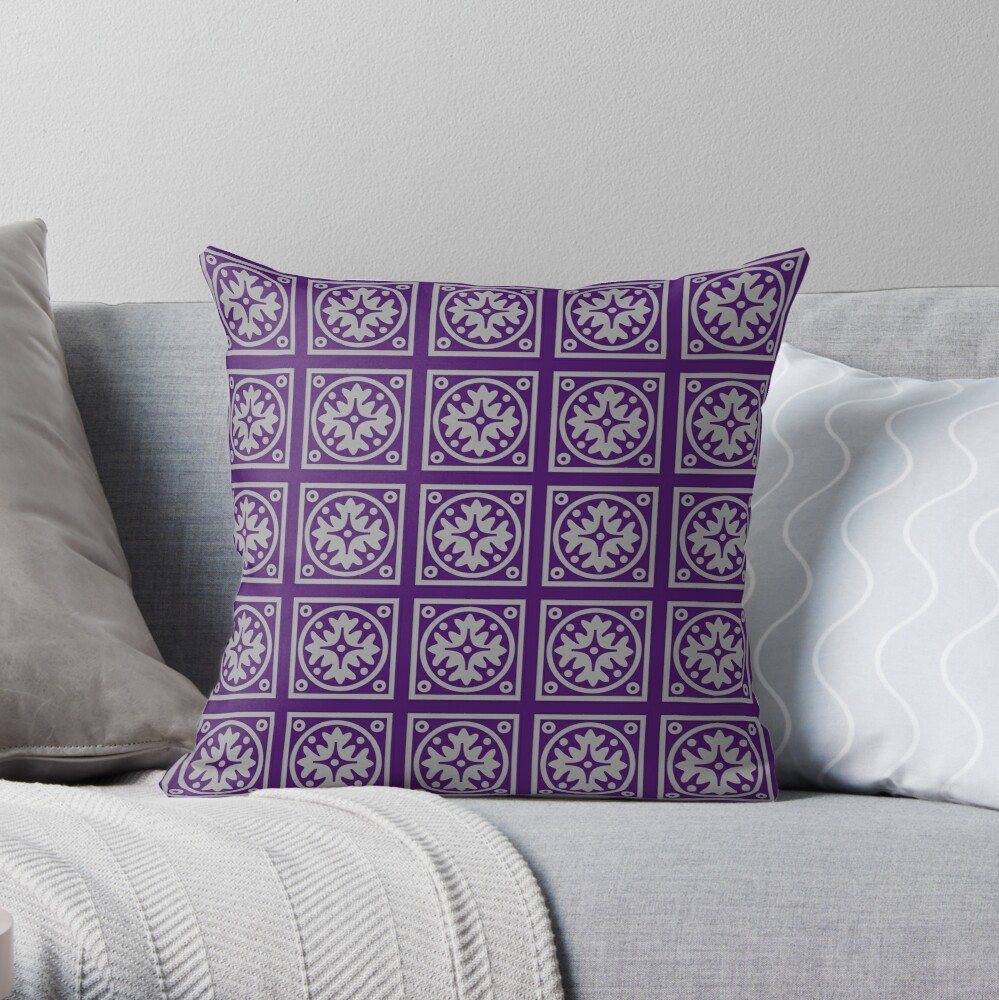 Floral Tile Purple and Grey Repeat Seamless Pattern Throw Pillow