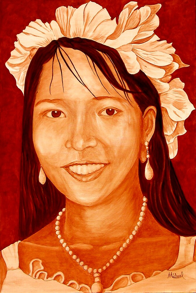 """""""Maribel"""" original signed acrylic portrait painting on canvas by Michael Arnold"""