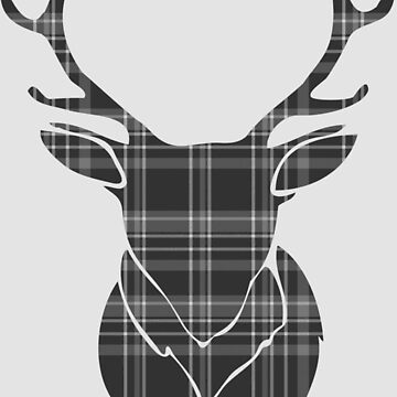 Rustic Tartan Pattern Stags Head by Ricaso