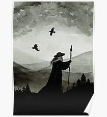Odin, Huginn and Muninn. Poster
