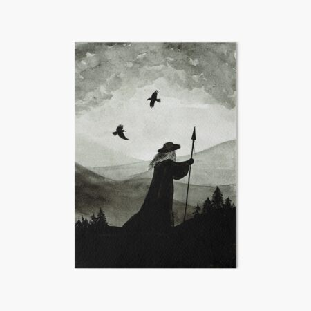 Odin, Huginn and Muninn. Art Board Print