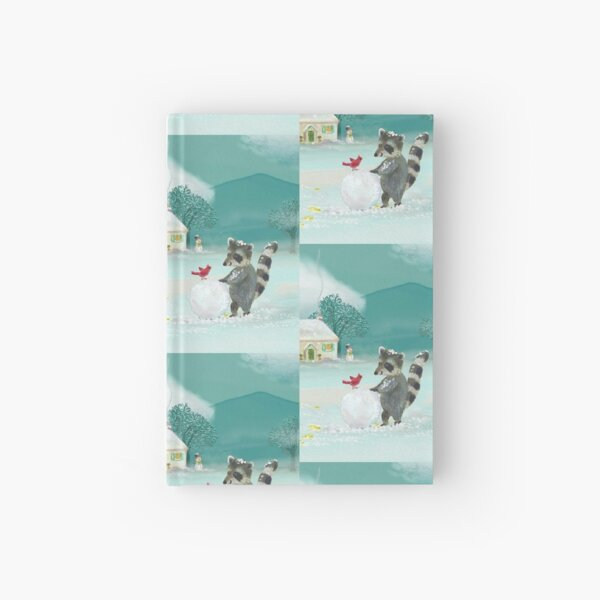 raccoon in the snow Hardcover Journal