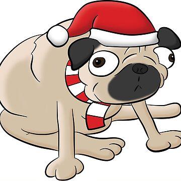 Christmas Pug, Funny Cartoon T-Shirt by rideawave