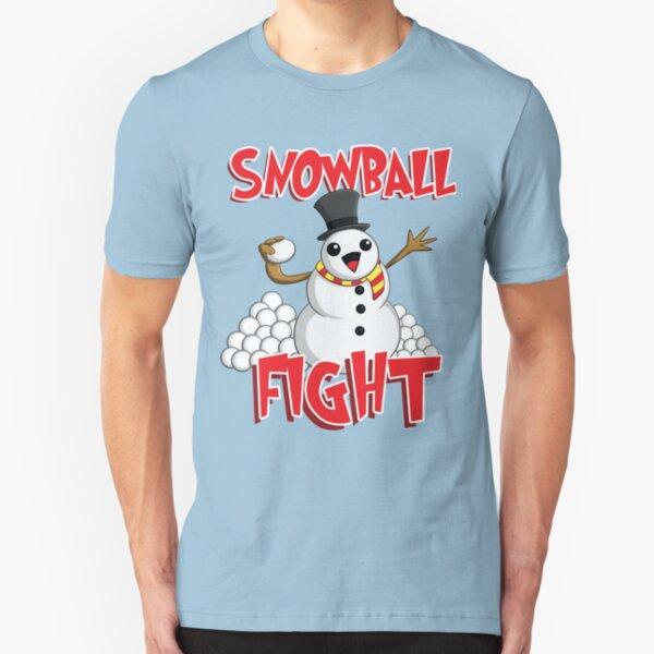Snowball Fight Funny Christmas T-Shirt Slim Fit T-Shirt