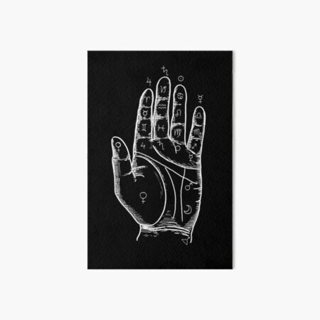 Palmistry in black Art Board Print