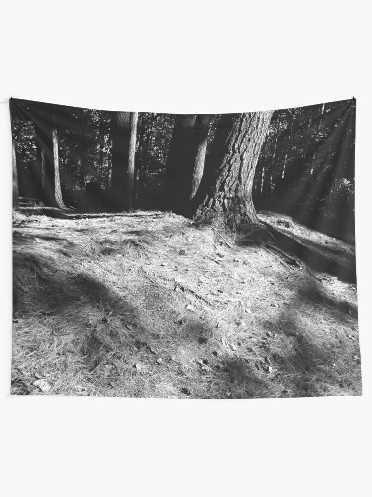 Alternate view of Black And White Pine Needles Tapestry