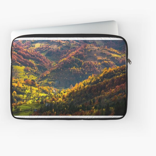 village in a valley down the hill among forest Laptop Sleeve