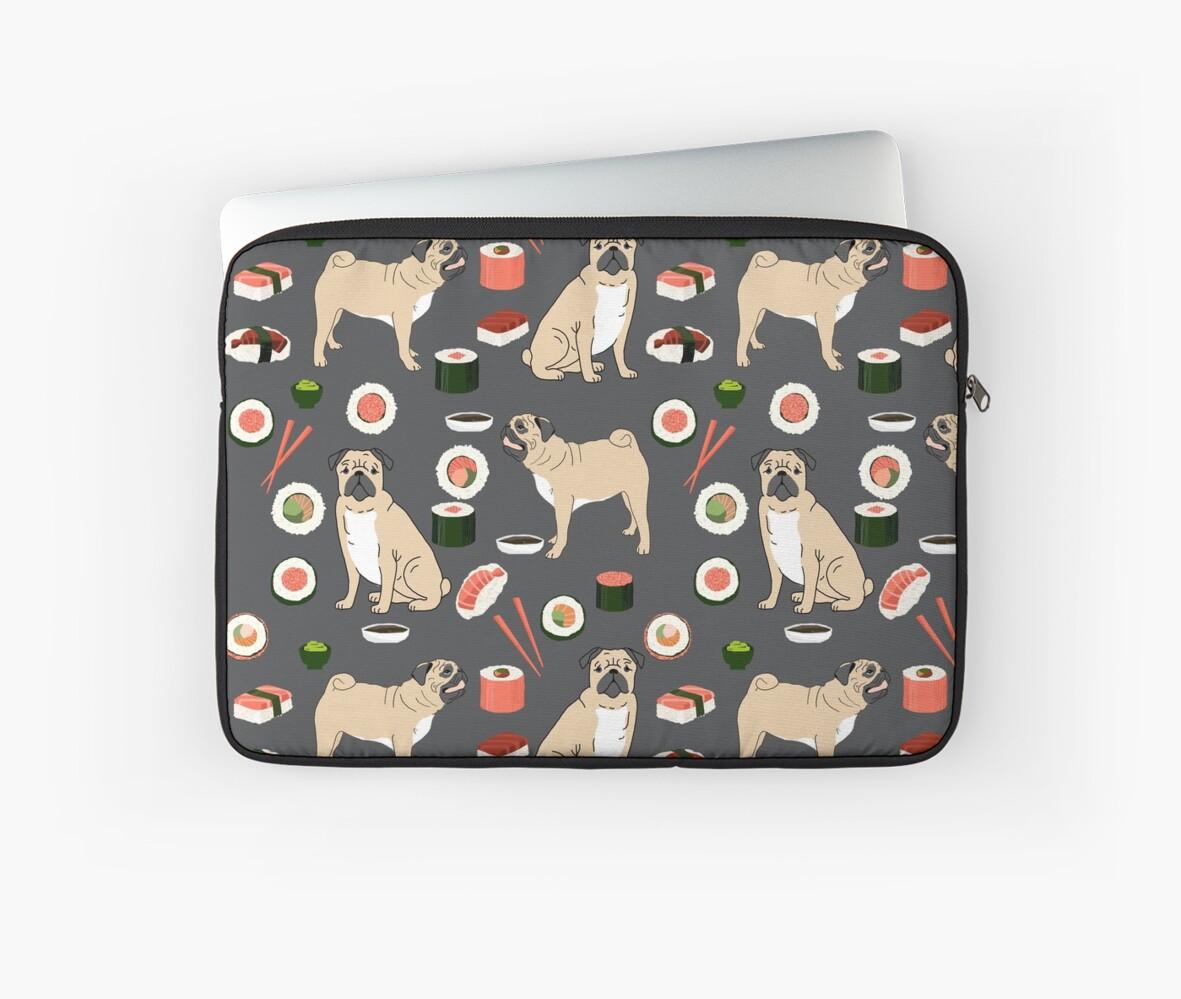 Pug sushi pattern dog breed cute pet art pet friendly gifts pugs by PetFriendly