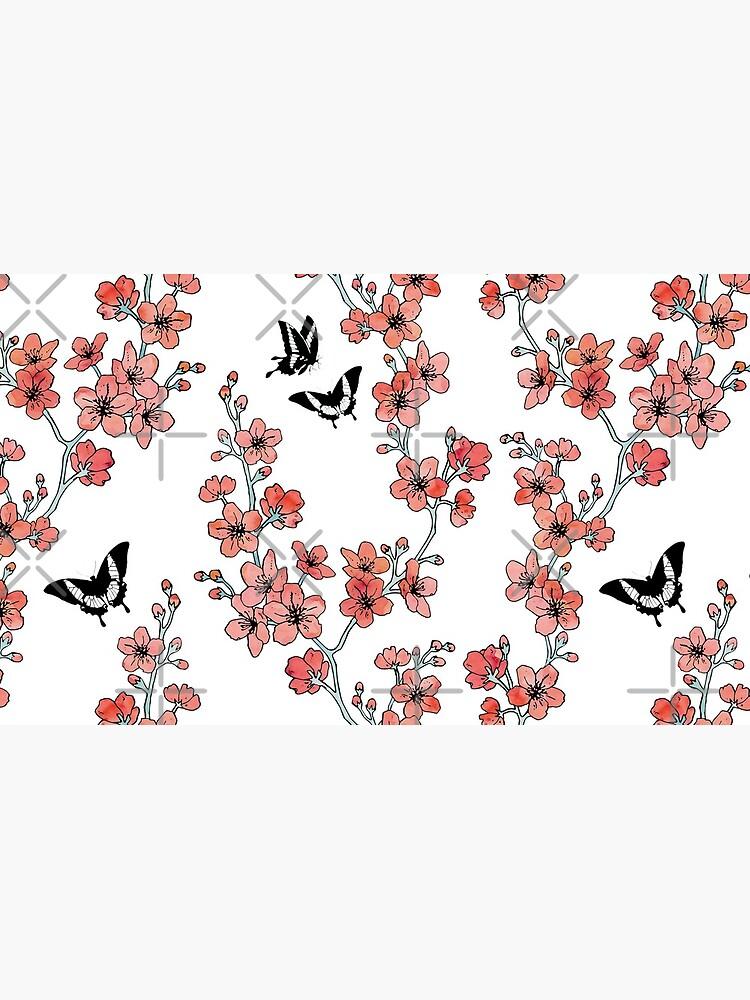 Sakura butterflies in peach pink watercolor by adenaJ