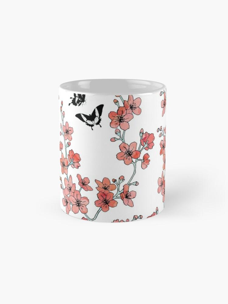Alternate view of Sakura butterflies in peach pink watercolor Mug