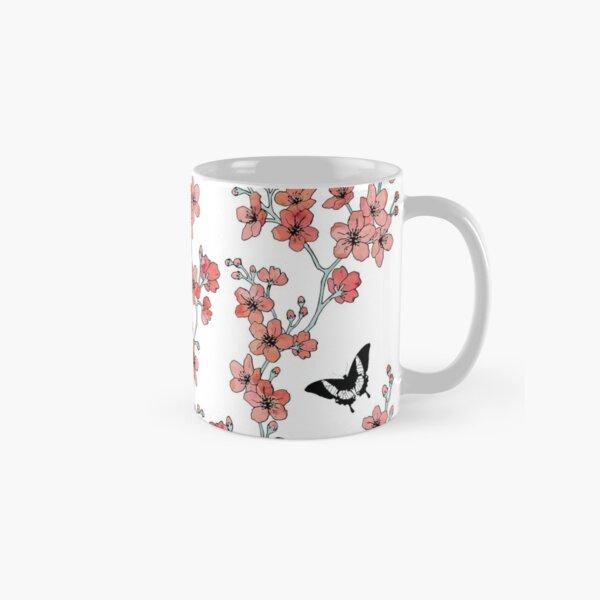 Sakura butterflies in peach pink watercolor Classic Mug