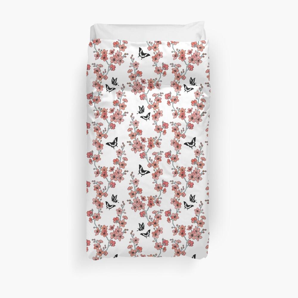 Sakura butterflies in peach pink watercolor Duvet Cover