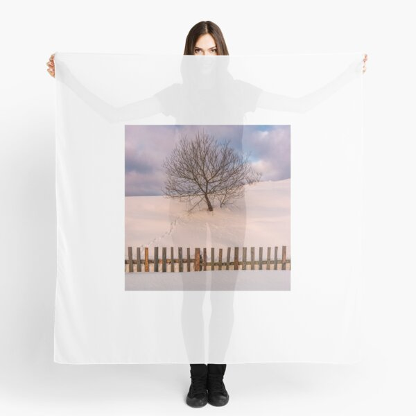 lonely  tree on snowy hillside behind the fence Scarf