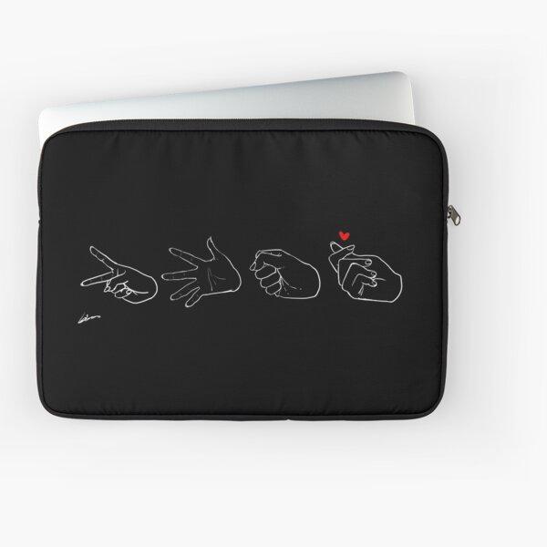 Scissors, Paper, Rock, Love - Black Laptop Sleeve