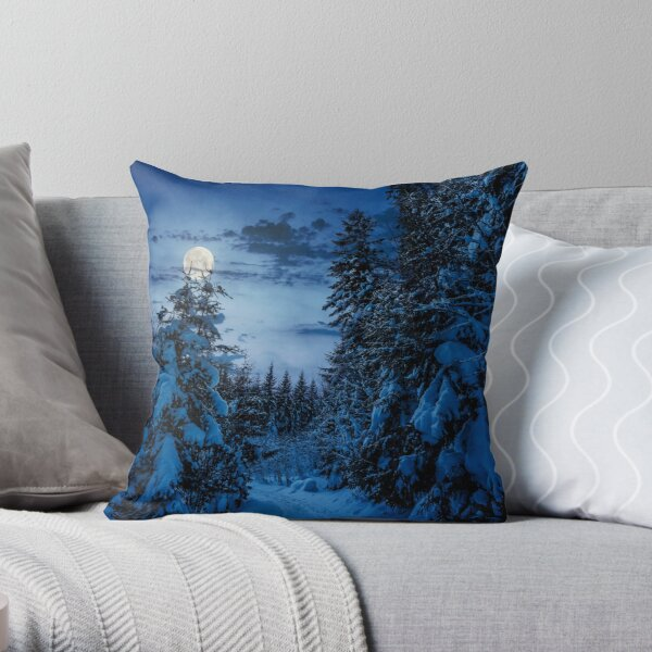 path through spruce forest in winter at night Throw Pillow