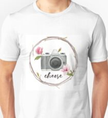 Cheese.Watercolor vintage camera with magnolia flowers. T-Shirt