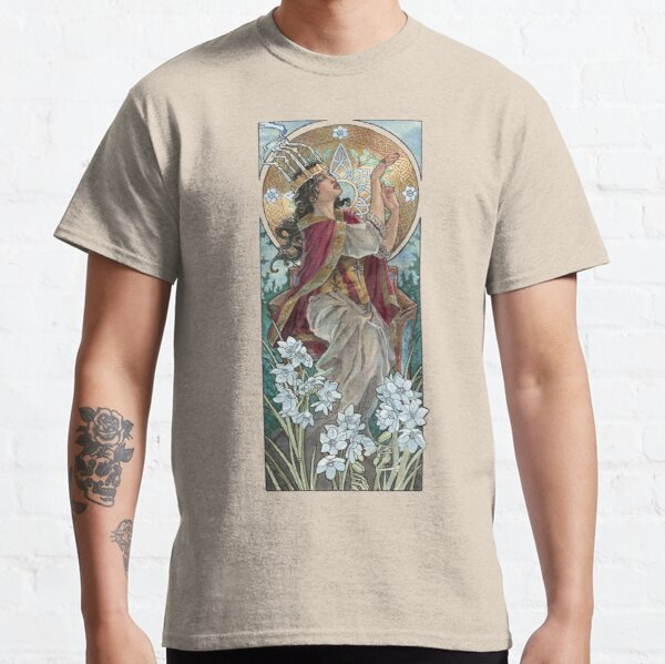 Lady of December with White Narcissus and Saint Lucy Candle Crown Goddess Mucha Inspired Birthstone Series Classic T-Shirt
