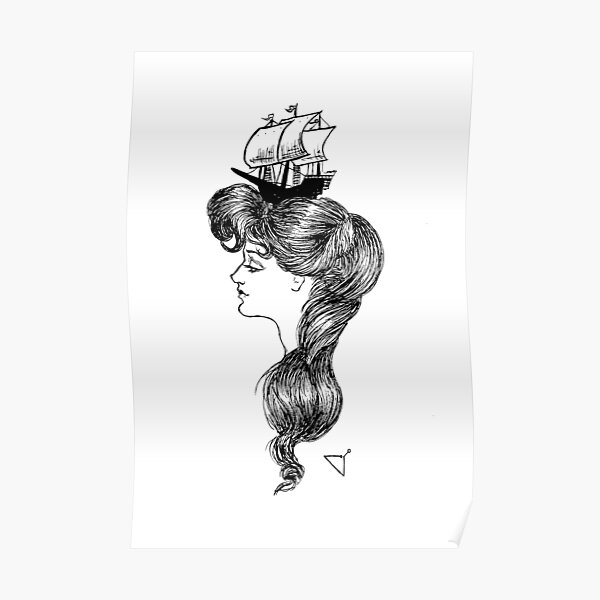 Gibson girl with ship on her head Poster