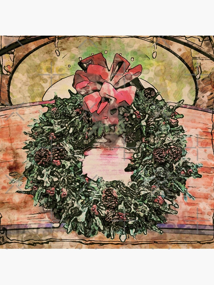 Joyful Wreath - Christmas in July  by OneDayArt