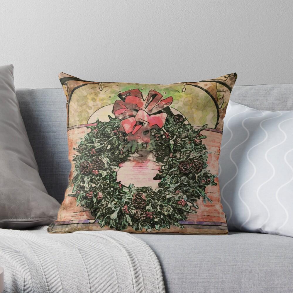 Joyful Wreath - Christmas in July  Throw Pillow