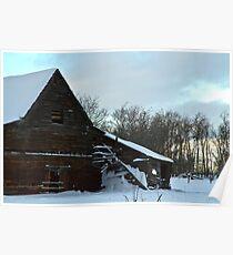 The Old Barn Winter Scene  Poster