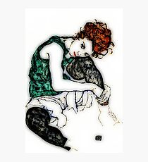 """Egon Schiele """"Seated Woman with Bent Knee"""", 1917 enhanced Photographic Print"""