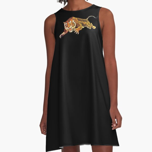 TIGER. ATTACK. Pounce, from Circus Poster. A-Line Dress