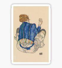 """Egon Schiele """"Femme assise, vue arrière"""", 1917 Sticker"""