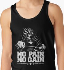 no pain no gain saiyan gym fit power energy Tank Top