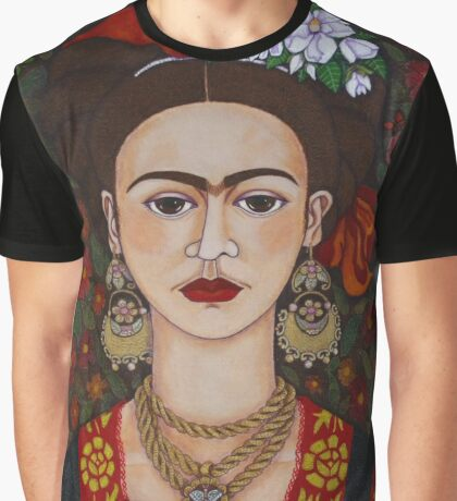 Frida Kahlo with butterflies  Graphic T-Shirt