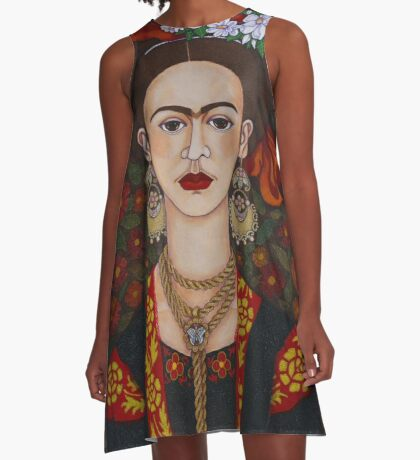 Frida Kahlo with butterflies  A-Line Dress