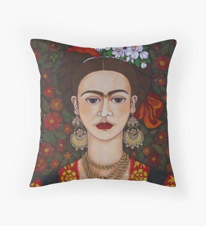 Frida Kahlo with butterflies  Throw Pillow
