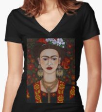 Frieda  with butterflies  Women's Fitted V-Neck T-Shirt