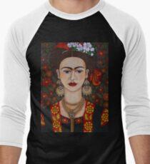Frida Kahlo with butterflies  Men's Baseball ¾ T-Shirt