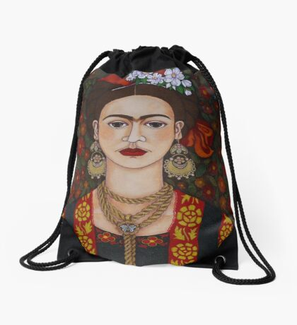 Frida Kahlo with butterflies  Drawstring Bag