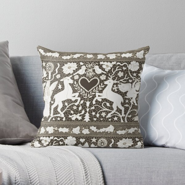 Antique Lace - Cream and Sepia - Traditional Christmas pattern by Cecca Designs Throw Pillow